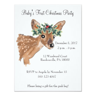 Fawn Deer Christmas Party Invite
