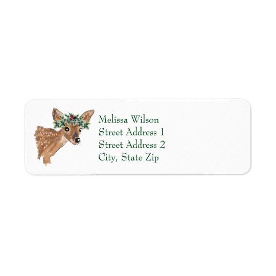 Fawn Deer Christmas Return Address Labels
