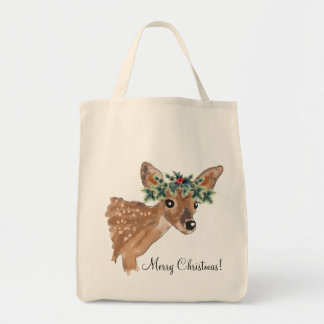 Fawn Deer Holiday Tote Bag