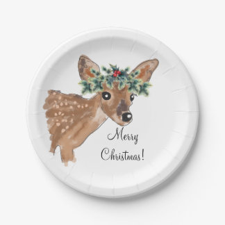 Fawn Deer Personalized Paper Christmas Plates