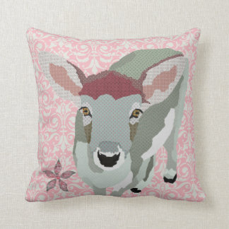 Fawn Flower Pink Damask Mojo Pillow
