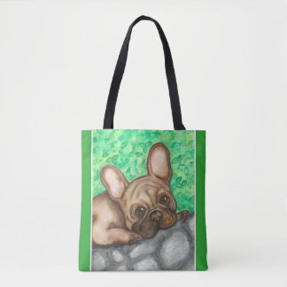 Fawn French Bulldog tote with green