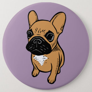Fawn Frenchie Puppy 6 Inch Round Button