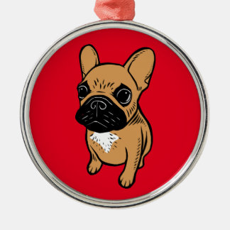 Fawn Frenchie Puppy Metal Ornament