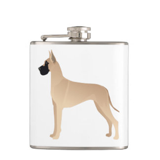 Fawn Great Dane Dog Breed Illustration Silhouette Flasks