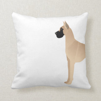 Fawn Great Dane Dog Breed Illustration Silhouette Throw Pillow