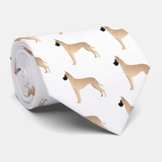 Fawn Great Dane Dog Breed Illustration Silhouette Tie