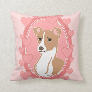 Fawn Italian Greyhound Pink Hearts Pillow