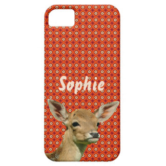 Fawn on red/orange pattern iPhone 5 case