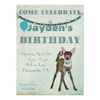 Fawn & Owl Birthday Invitation