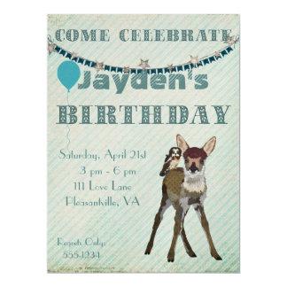 Fawn & Owl Birthday Invitation