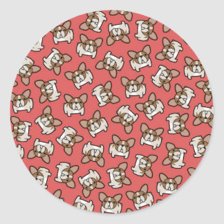 Fawn Pied Frenchies Classic Round Sticker