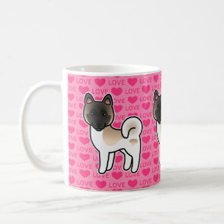 Fawn Pinto Akita Dog Love Cartoon Drawing Pink Coffee Mug