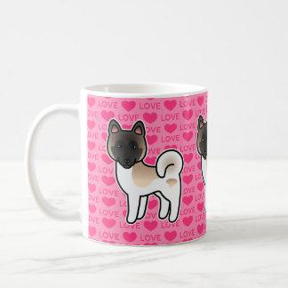 Fawn Pinto Akita Dog On Pink Love Background Coffee Mug
