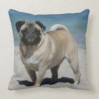 Fawn Pug at the Beach Throw Pillow