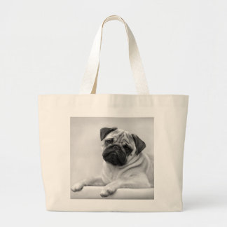 Fawn Pug Dog, Black and White Large Tote Bag