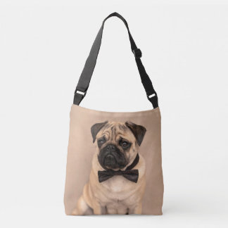 Fawn Pug Dog with Bow Tie Crossbody Bag