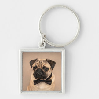 Fawn Pug Dog with Bow Tie Keychain