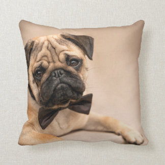 Fawn Pug Dog with Bow Tie Throw Pillow