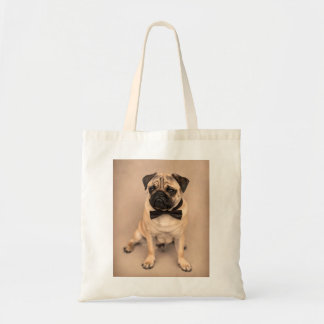 Fawn Pug Dog with Bow Tie Tote Bag