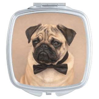 Fawn Pug Dog with Bow Tie Travel Mirror
