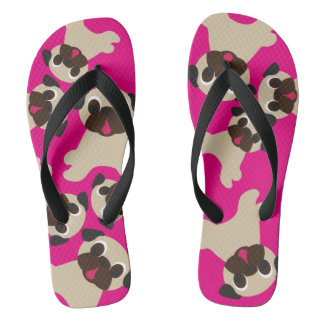 Fawn Pug Grumble Hot Pink Flip Flop