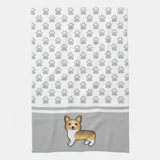 Fawn Sable Pembroke Welsh Corgi And Dog Paws Kitchen Towel