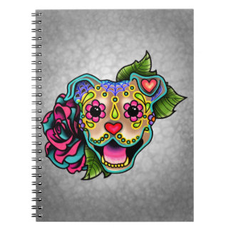 Fawn Smiling Pit Bull Day of the Dead Sugar Skull Notebook