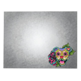 Fawn Smiling Pit Bull Day of the Dead Sugar Skull Notepad