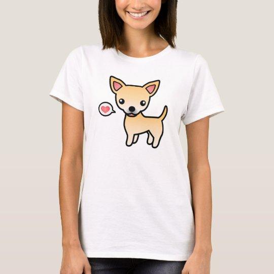 Fawn Smooth Coat Chihuahua Cartoon Illustration T-Shirt