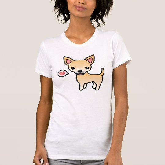 Fawn Smooth Coat Chihuahua With A Pink Heart T-Shirt