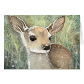Fawn Watercolor Wildlife Art Card