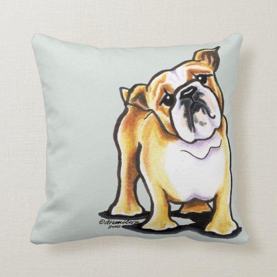 Fawn White English Bulldog Portrait Throw Pillow