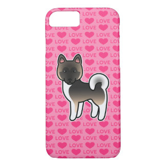 Fawn With Black Overlay Akita Dog Cartoon Drawing iPhone 8/7 Case