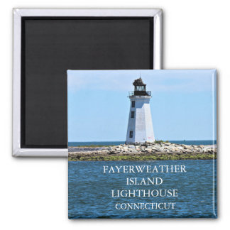 Fayerweather Island Lighthouse, Connecticut Square Magnet