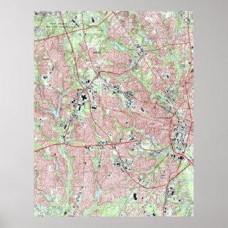 Fayetteville North Carolina Map (1997) Poster