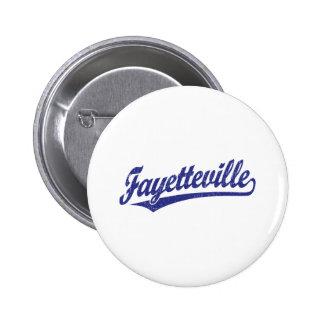 Fayetteville script logo in blue 2 inch round button