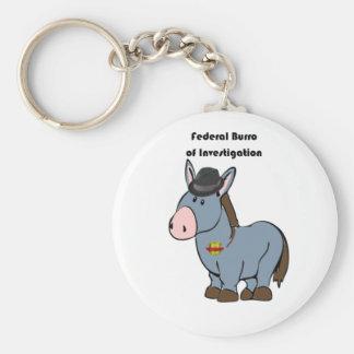 FBI Federal Burro of Investigation Donkey Cartoon Basic Round Button Keychain