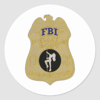fbi female body inspector classic round sticker