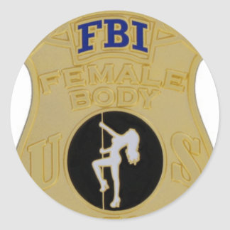 fbi female body inspector round sticker
