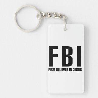 FBI Firm Believer in Jesus Double-Sided Rectangular Acrylic Keychain