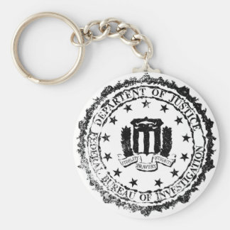 FBI Rubber Stamp Basic Round Button Keychain