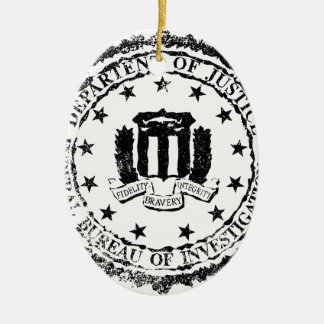 FBI Rubber Stamp Ceramic Oval Ornament