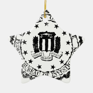 FBI Rubber Stamp Ceramic Star Ornament
