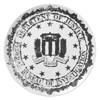 FBI Rubber Stamp Party Plate