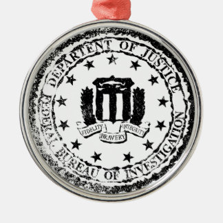 FBI Rubber Stamp Silver-Colored Round Ornament