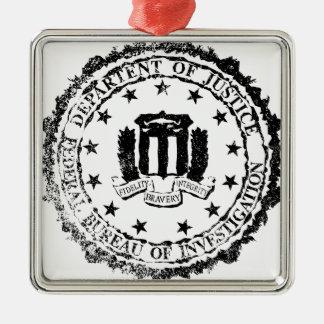 FBI Rubber Stamp Silver-Colored Square Ornament