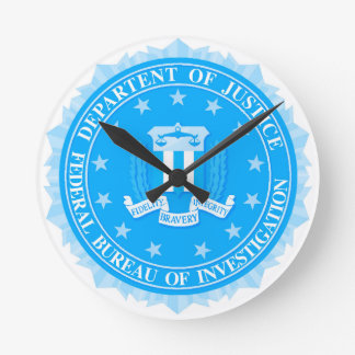 FBI Seal In Blue Round Clock