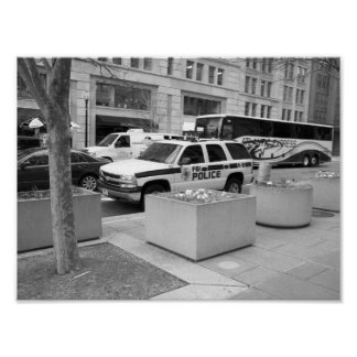 FBI Vehicle Washington DC Black & White Photo Poster