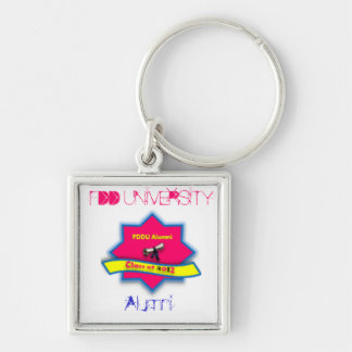 FDD University Merchandise Silver-Colored Square Keychain